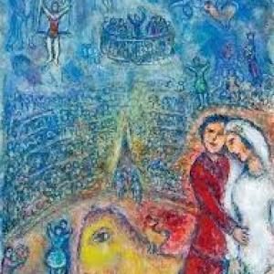 """(c) """"Les Fiances du Cirque"""" (c) Marc Chagall–""""Galerie Boulakia"""""""