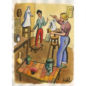 """""""Atelier 1"""" 57 x 75,5 cm (c) Jacques de Loustal"""