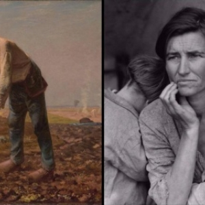 """""""L Homme a la Houe"""" (c) """"The J. Paul Getty Museum"""" & """"Destitute Pea Pickers in California"""" (c) """"Library of Congress, Prints & Photographs Division Washington DC"""""""