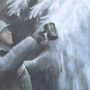 """""""Noël Béni"""" Le soldat Américain prend son """"Apéro Ardennais""""."""