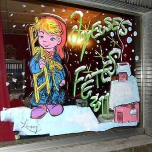 Charleroi -Peinture sur vitrine pour Noel-7430