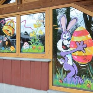peinture sur vitrine pour PAQUES