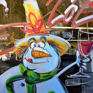 détail d'une peinture sur vitrine pour NOEL 2020 par Jean-Marie Lesage