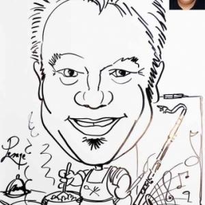 caricature clarinette, cuisinier, peintre