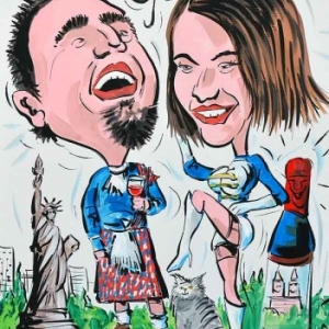 caricature minute pour mariage en couleur
