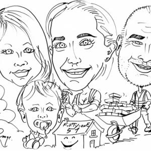 construire une maison en famille,caricature, FIFTY-ONE, Luxembourg