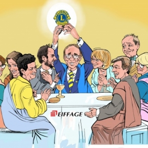 EIFFAGE caricature minute Lions club Aubel