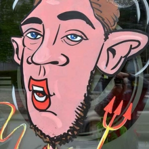 Caricature de Eden Hazard, peinture sur vitre