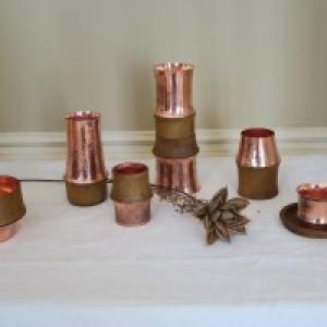 Verres en Bronze et Bambou
