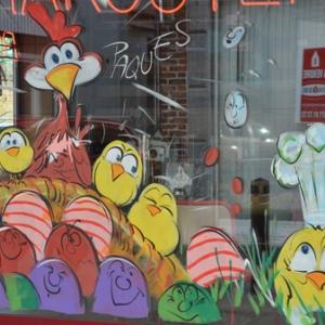 Joyeuses PAQUES en peinture sur vitre