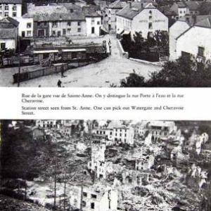 Route de la gare. NB: chaque paire de photos représente plus ou moins le meme point de vue avant et apres les bombardements.