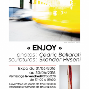 """Enjoy"" photo de Cedric Ballarati,  sculpture de Skender Hyseni"