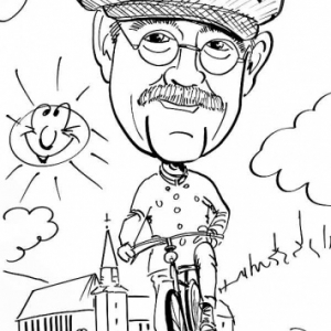 """caricature du VELO de 1890 avec Dirk Van Luchem,le president  de l'IVCA, """"International Veteran Cycle Association"""""""