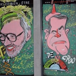"""caricature de Alexandre de Croo """"Lu Long - Né """"sur les vitrines peintes pour le carnaval par Jean-Marie Lesage"""