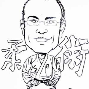 caricature judo minute en NB