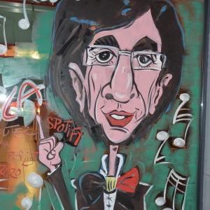 caricature de Di Rupo sur les vitrines peintes pour NOEL par Jean-Marie Lesage