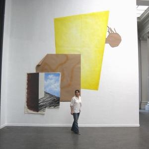 Sophie Legros, Le grand jaune, acrylique et huile sur toile, pastel sur Kraft et carton, 2012, 480 x 430 cm