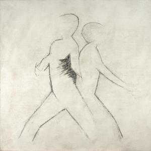 Guy Vandeloise, L'un et l'autre, fusain sur toile gesso, 2019, 120 x 120 cm