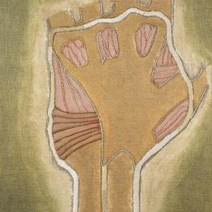 Juliette Rousseff, Corps et âme (paume de la main), acrylique et soie brodée sur toile marouflée, 2018, 47,5 x 34,5 cm