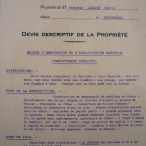 Bezonvaux : devis descriptif d'une habitation detruite