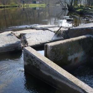 Amenagement d'une echelle a poissons sur le seuil de l'Eau Rouge a Stavelot, avec remplacement du mur de berge gauche juste en aval (STP Province Liege)