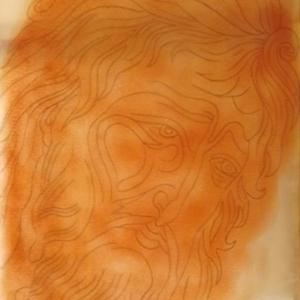 Calque de St Jean Baptiste - pose des pigments pour la reproduction sur la planche