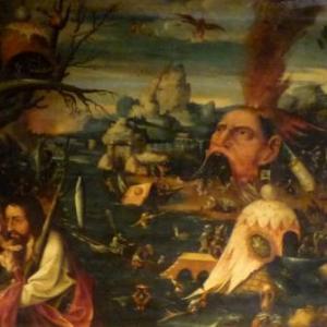 St Christophe dans un paysage de diableries ( huile sur bois / 2eme quart du 16eme siecle )