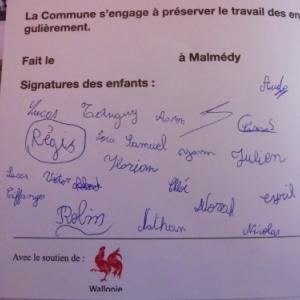 Charte signee par les eleves de Geromont