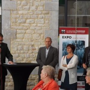 Vernissage avec JP Bastin, bourgmestre, M. Steffens, Mme Vandeuren et M. NOEL, Echevins de Waimes
