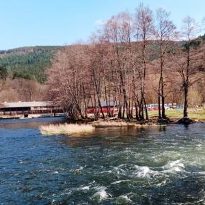 Le remous dans l'Amblève au pied de la cascade ( photo F. Detry )