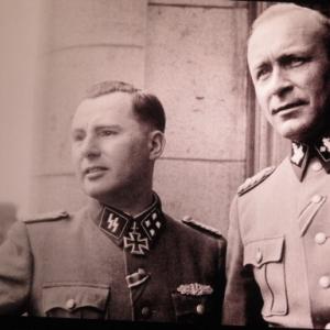 DEGRELLE ET JUNGCLAUS a Charleroi le 1er avril 1944
