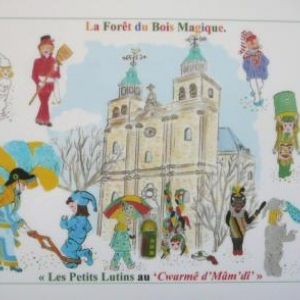Marie MORAY    Tous les masques reunis devant la Cathedrale