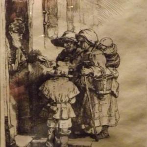Mendiants recevant l'aumone a la porte d'une maison ( 1648 )