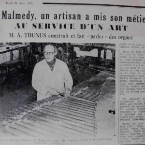 Facteur d'orgue : affectation anterieure de la Hore Kinon ( 1963  / Collection Bruno Kehl )