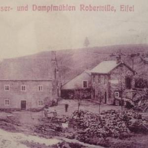 Le moulin seigneurial de Reinhardtein, tel qu' on pouvait le voir debut 1900. A l' epoque, son proprietaire l' avait equipe d' une machine a vapeur qui pouvait suppleer le manque d' eau lors des annees trop seches.