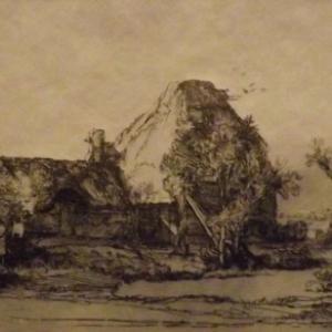 Cottage et batiment de ferme avec un homme esquisse  ( 1645 )