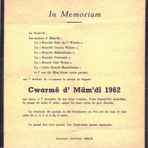 """Avis nécrologique  ( """" Nouvelles de Malmedy du 10 mars 1962 """" )"""