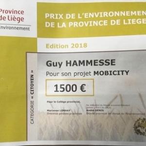 Prix de l'Environnement de la Province de Liège en catégorie «  Citoyens » pour son projet « MobiCity.Mob.el.Car
