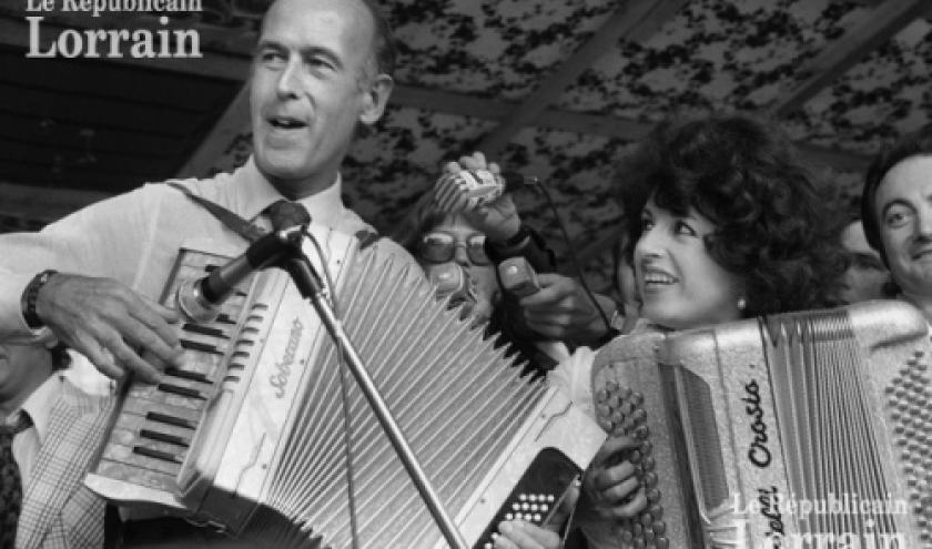 Yvette Horner, avec Giscard d'Estaing, ministre des Finances, 1973.