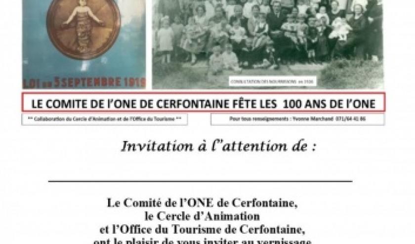 Exposition « l'ONE a 100 ans » à Cerfontaine