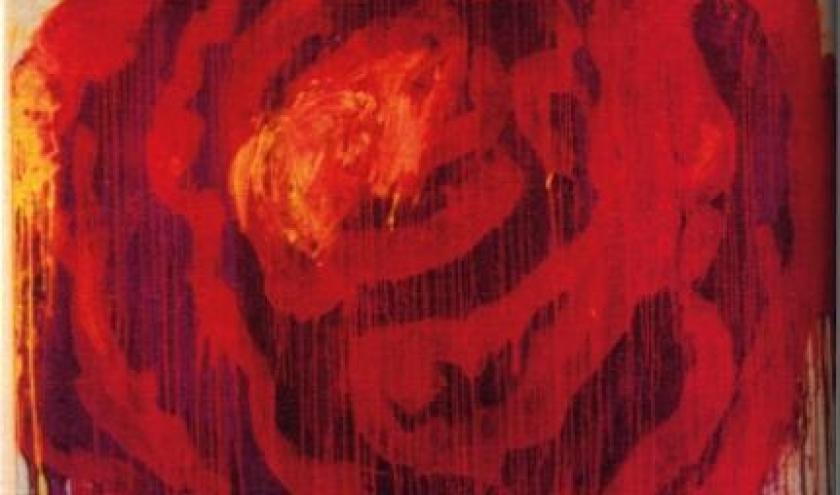 Cy Twombly, Painting Detail (Roses), Gaeta, 2009, dryprint on cardboard, 43,1 x 27,9 cm, courtesy : Schirmer/Mosel Verlag - Fondazione Nicola del Roscio