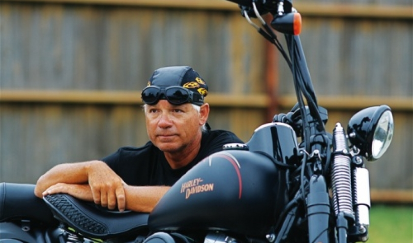 "Marc Poirel et son ""Harley-Davidson"" (c) Marc Poirel"