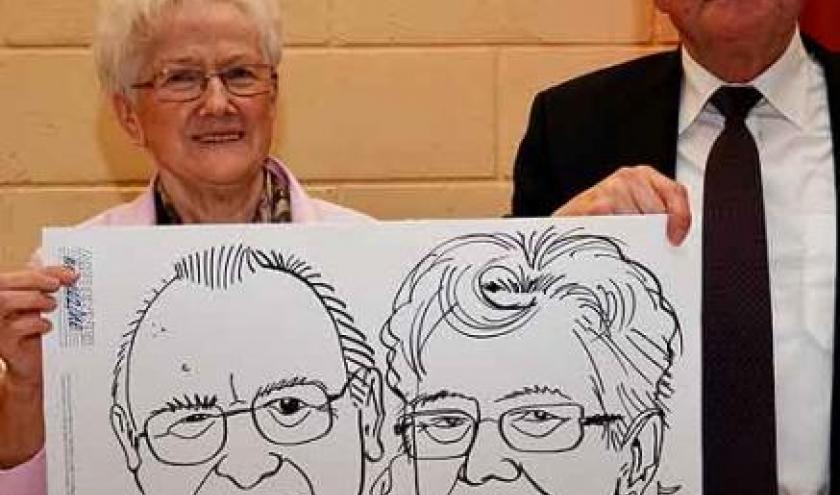 caricature pour les 50 ans de mariage de Louis et Mariette de Membach