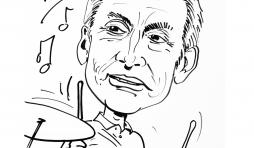 Charlie Watts , une caricature réalisée par Jean-Marie Lesage